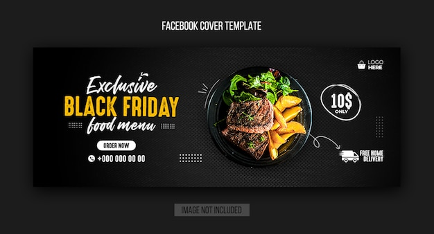 Black friday restaurant facebook cover and web banner template Premium Psd