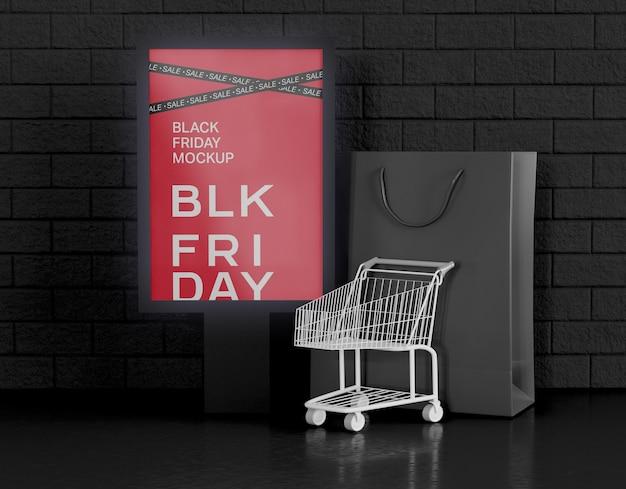 Mockup di pubblicità banner vendita venerdì nero. Psd Gratuite