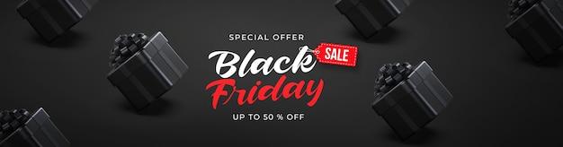 Черная пятница продажа баннеров с 3d черными подарочными коробками Premium Psd