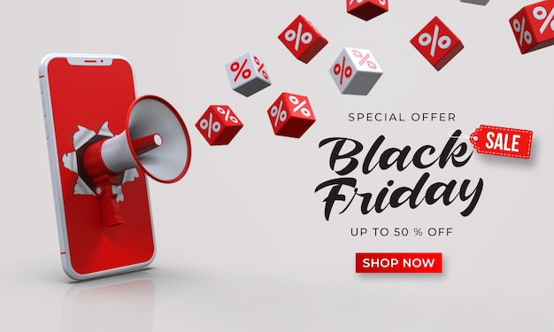 Black friday sale banner template with 3d megaphone out of the smartphone and cubes with percent Premium Psd
