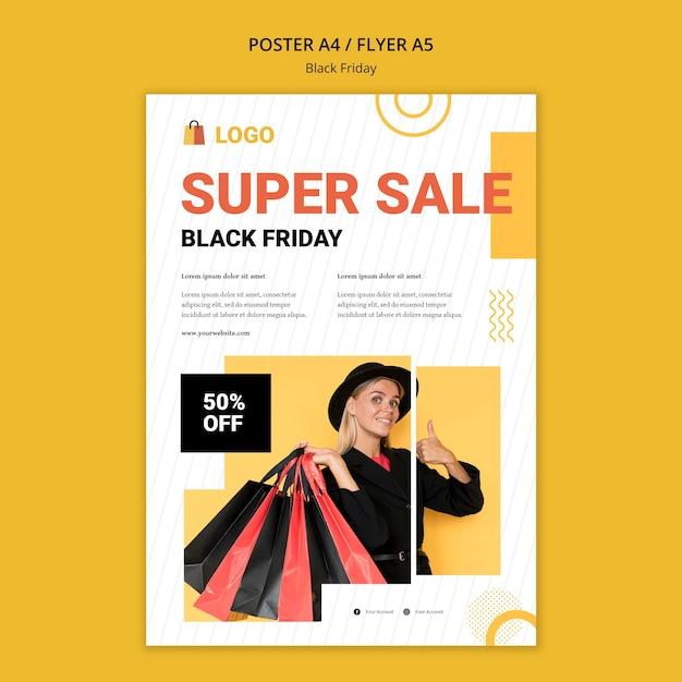 Modello di poster di vendita del black friday Psd Gratuite