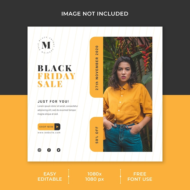 Black friday sale social media template minimalist concept Premium Psd