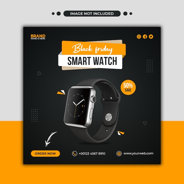 Black friday smartwatch promotion social media post and web banner template Premium Psd