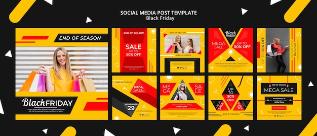 Black friday social media post template mock-up Free Psd