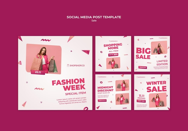 Black friday social media post template Free Psd