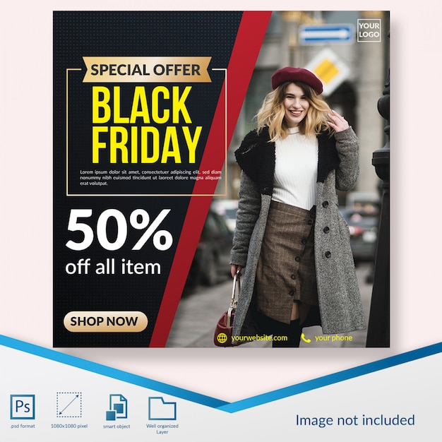 Black friday special fashion discount offer social media post template Premium Psd