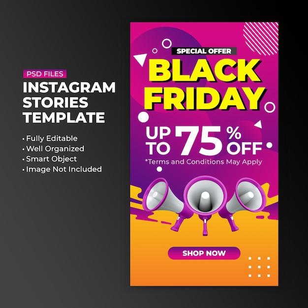 Black friday special offer promotion for instagram post stories design template