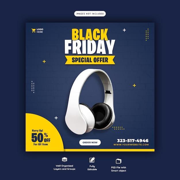 Black friday special offer social media banner template Free Psd