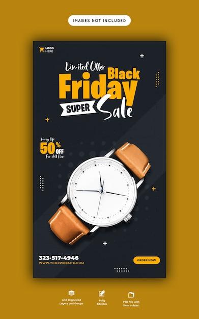 Modello di banner di storia di instagram e facebook super vendita venerdì nero Psd Gratuite