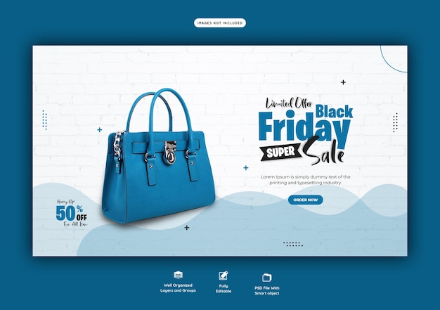 Black friday super sale web banner template Free Psd