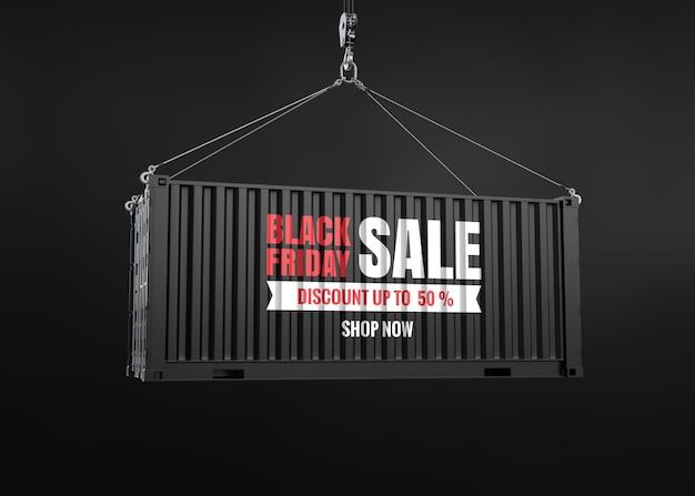 Черная пятница продажа текста на макете контейнера Premium Psd