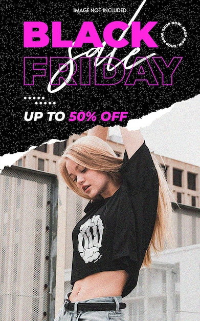Black friday torn ripped template Premium Psd