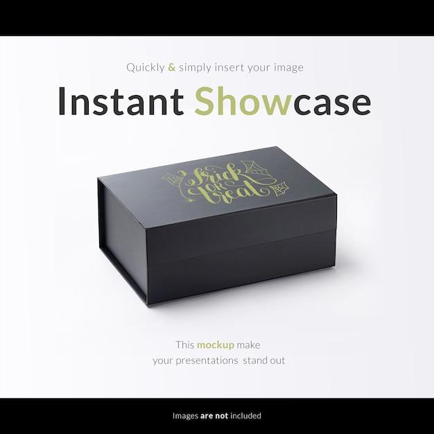 Черная подарочная коробка макет Бесплатные Psd