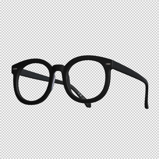 Black glasses over white Premium Psd