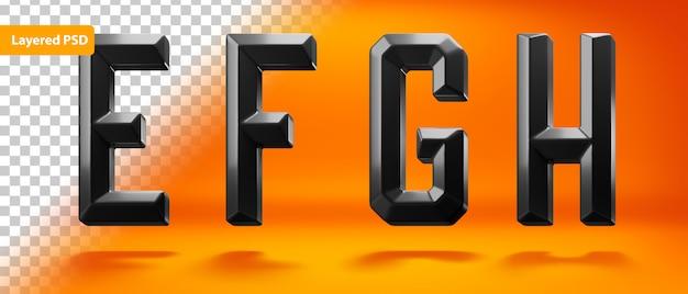 Black glossy alphabet with edged shape Free Psd