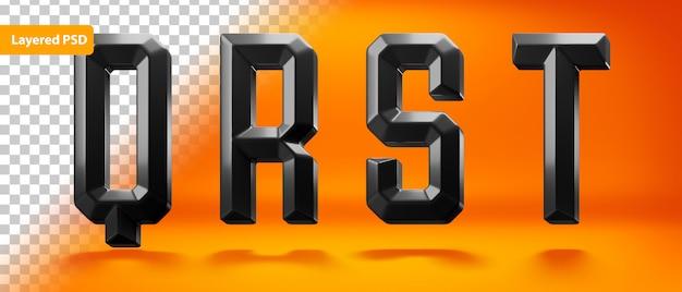 Черный глянцевый алфавит с окантовкой Бесплатные Psd