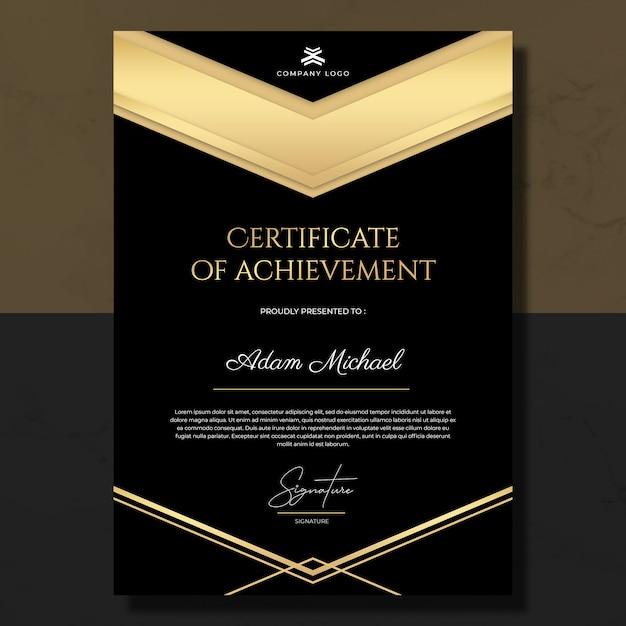 Black Gold Certificate Of Achievement Template
