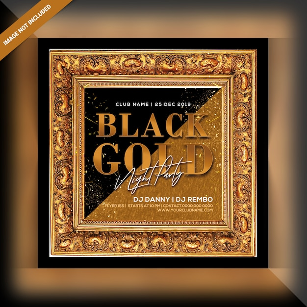 Black gold night party flyer Premium Psd