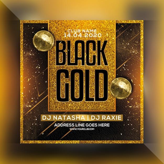 Black gold night party flyer Premium Psd