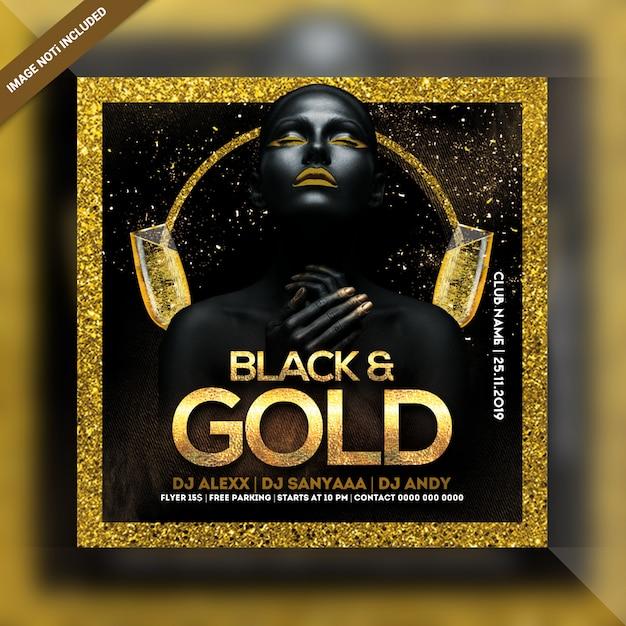 Black & gold night party square flyer Premium Psd