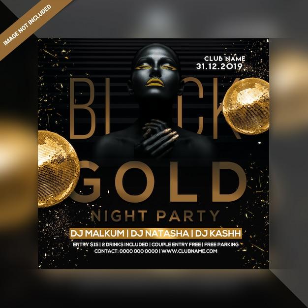 Black gold party flyer Premium Psd