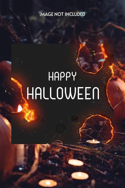 Black halloween photo with burning paper Premium Psd