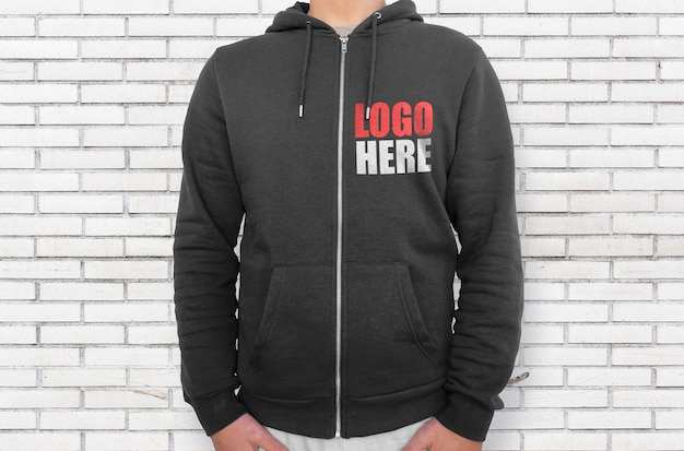 Black hoodie right side with zipper mockup Free Psd