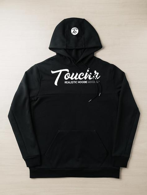 Black hoodie sweatshirt long sleeve mockup Premium Psd
