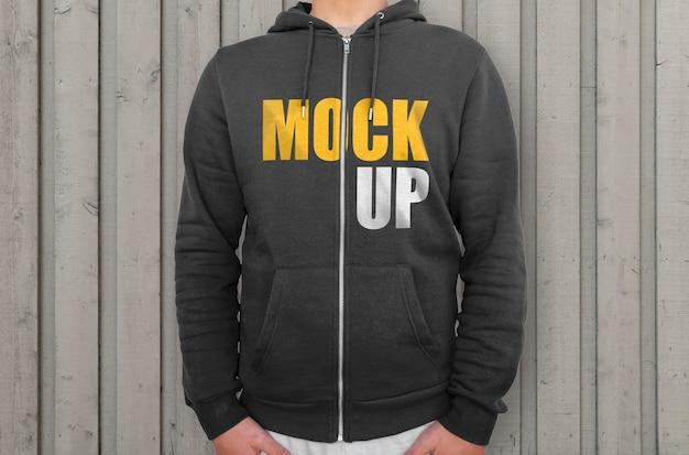 Black hoodie with zipper mockup Free Psd