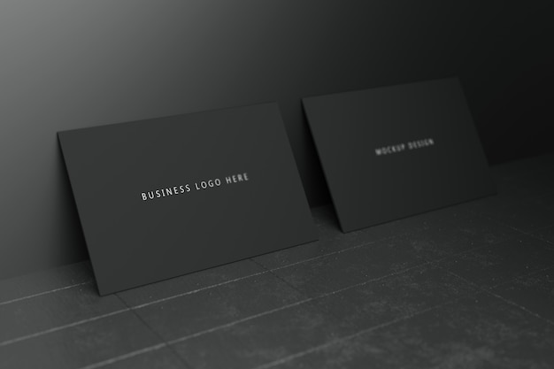 black horizontal business card paper mockup template with