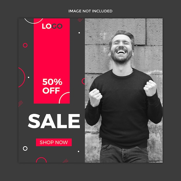 Black instagram post, square banner or flyer template Premium Psd