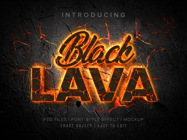 Black lava 3d font style effect mockup Premium Psd