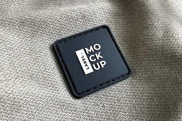 Черная кожаная этикетка, реалистичный квадратный макет Premium Psd