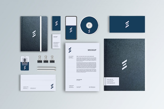 Black leather stationery mockup for corporate branding, top view Premium Psd