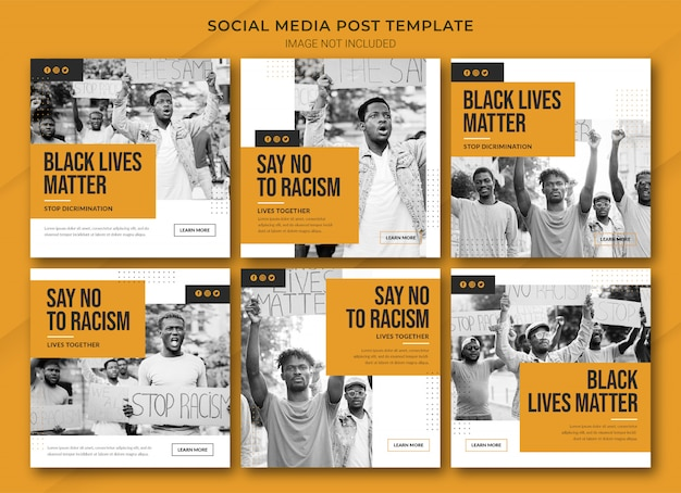 Black Lives Matter 인스 타 그램 포스트 번들 템플릿 프리미엄 PSD 파일