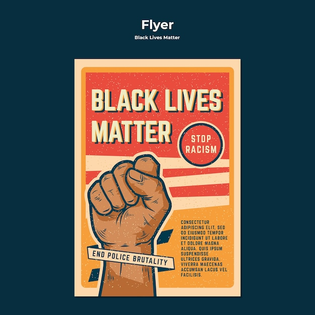 Black lives matter no racism flyer template Free Psd