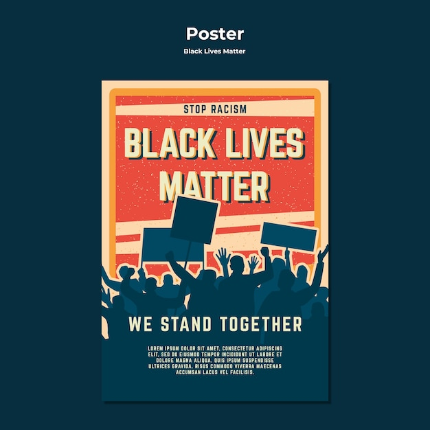 Black lives matter no racism poster template Free Psd