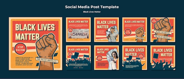 Black lives matter no racism social media post Free Psd