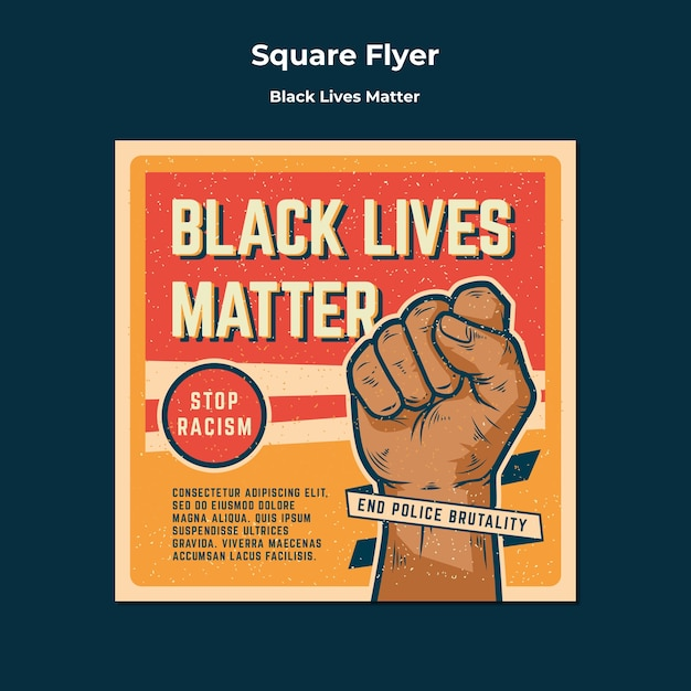 Black lives matter no racism square flyer Free Psd