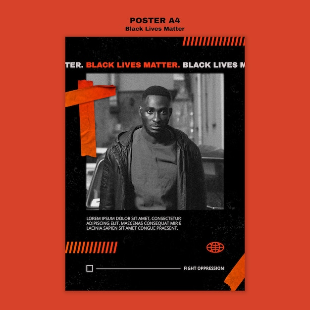 Black lives matter poster template Free Psd