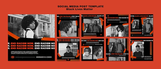 Black lives matter social media post template Premium Psd