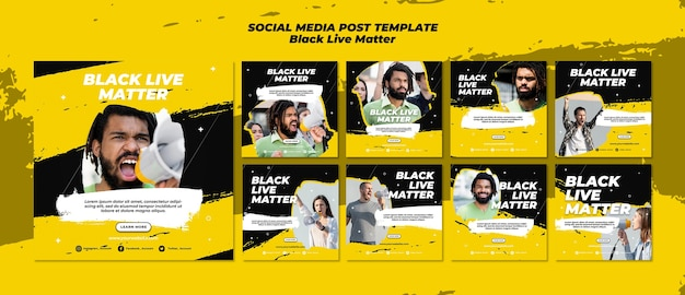 Черные жизни имеют значение в социальных сетях Бесплатные Psd