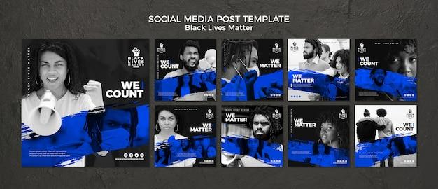 Черные жизни имеют значение в социальных сетях Premium Psd