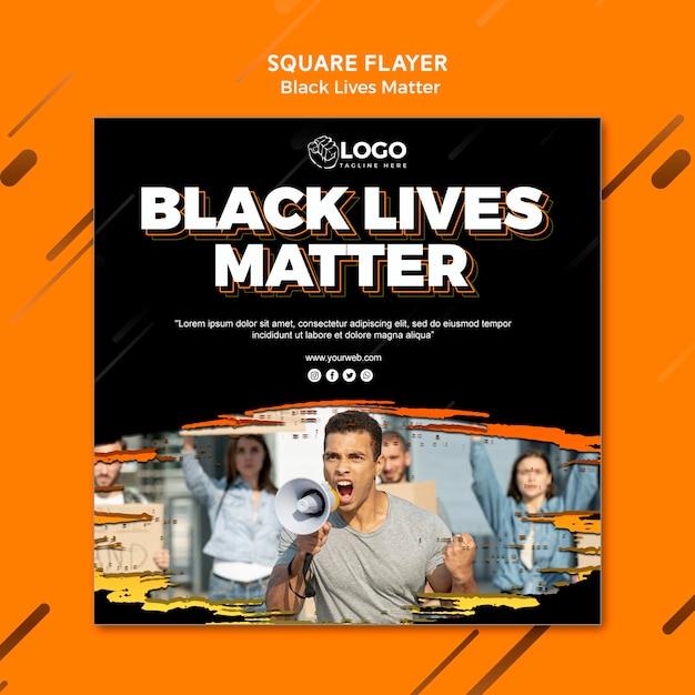 Черная жизнь материи квадратный флаер шаблон Бесплатные Psd