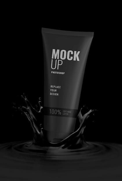 Black luxury tube advertising mockup Premium Psd