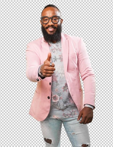 Black man doing an okay symbol Premium Psd
