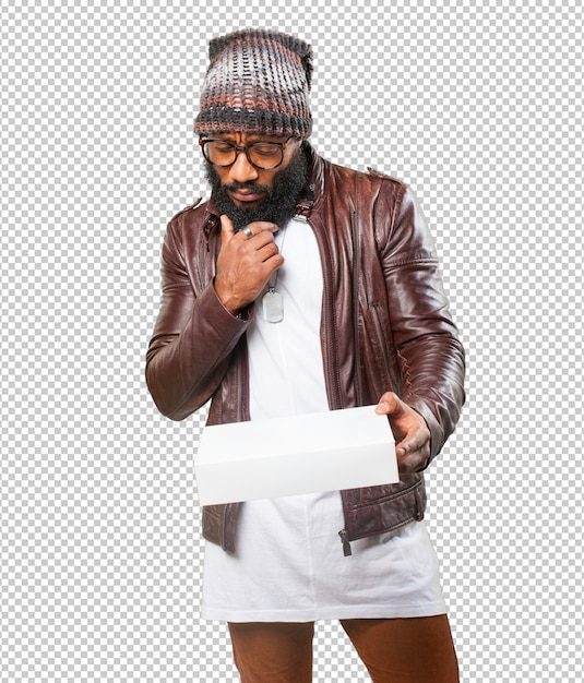 Black man holding a white box Premium Psd