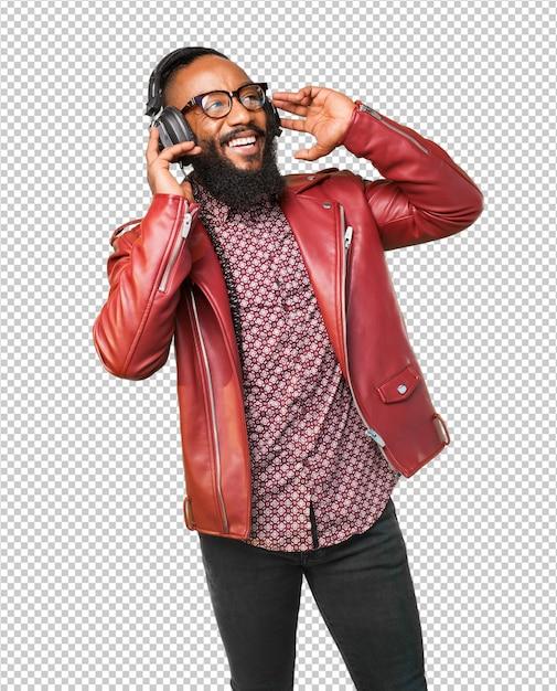 Black man listening to music Premium Psd
