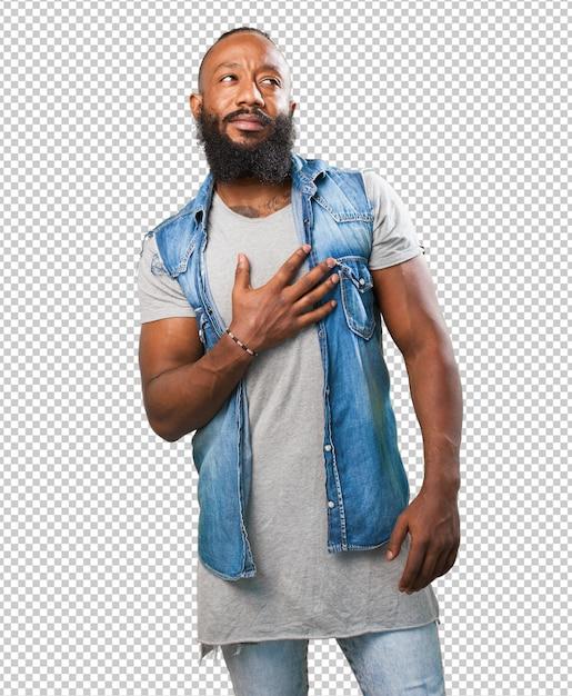 Black man in love on white Premium Psd