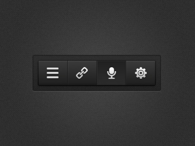 Black menu with settings buttons Free Psd